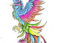 Fågeln Fenix och Drakar