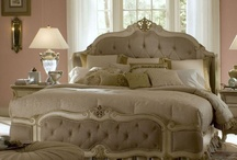 For The Bedroom / Aico Lavelle Blanc Bedroom Queen Wing Mansion Bed