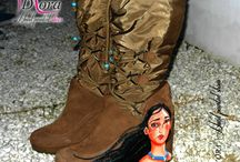 Pocahontas Shoes / https://www.facebook.com/pages/DORA-Hand-Painted-Shoes/144006675801939 #handpainted #hand #painted #shoes #scarpe #dipinteamano #dipinte #art #fashion #high #heels #plateaux #pocahontas