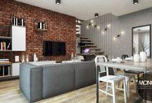 Industrialny dom w Biłgoraju / Nasz projekt domu w industrialnym klimacie. Loftowe meble, ceglane ściany i czarne akcenty to coś na co postawiliśmy tym razem :)