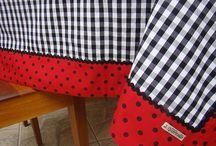 Toalhas de mesa retangular e redonda