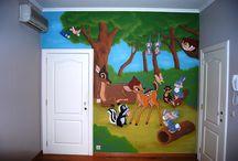 Muurschilderingen Bambi met Stampertje /  Kies een muurschildering met Bambi en Stampertje er op om de kinderkamer mee te decoreren!