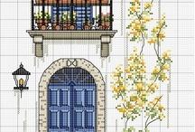 Pencere kapı kanaviçe taslakları / Windows Doors cross stitch charts