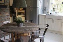INTERIOR HOME DESIGN  / Wooden Table & Chairs Kitchen Interior Exposed brick backgrounds Vintage Maps Vintage Fridges & chalkboard walls