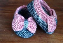 Baby bootees knitted