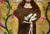 São Francisco / Painel em madeira de demolição pintado à mão ,assinado pela artista Regina Toshie Matsumoto.