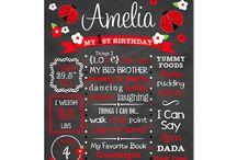 Ladybug Birthday Party / Ladybug Birthday Party Birthday Chalkboard sign party idea party theme birthday party favorite things sign first birthday ladybug