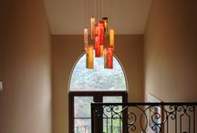 modern pendants lighting and contemporary chandeliers / art glass lighting in beautiful designs and exotic colors by Galilee lighting. We create hand crafted lighting and art made of fused glass in any size or length. We do custom oversized chandeliers