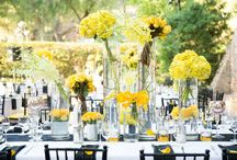 Yellow And Black And White Theme Outdoor Wedding / Designs created by After Eight Productions Inc.