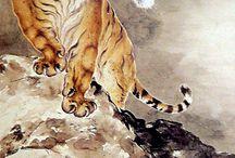 Čínské a Japonské akvarely