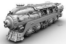 DieselPunk/Steampunk trains
