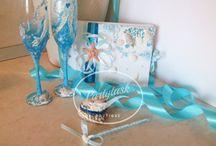 Wedding set - guest book, wedding glasses, wedding ring box - Beach wedding theme