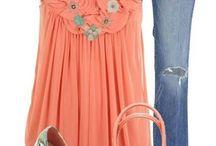 Coral/Peach and Blue