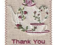 Embroidered Linen Greeting Cards