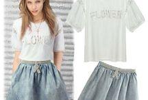 Conjunto Zara / Materiais : T-shirt - Algodão + saia jeans de algodão washed com apliques. Tamanho M Marca: Zara