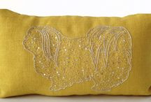 Burlap dog pillow
