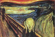 The Scream, Edvard Munch  / Maak een variant op het wereldberoemde schilderij van Edvard Munch, de Schreeuw. Formaat: A3, Materiaal: vrij.