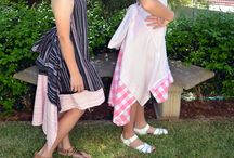 ReWright Upcycle Clothing / Unique dresses and skirts remodelled from men's/lady's shirts.  Multiply sizes depending on the ties at the back. Add accessories to change the look of your outfit to suit any occasion… beach wear, casual, luncheon date, dinner date or formal event. Adjust hem line using a brooch. Wear as is, with a boob tube or T-shirt underneath for cooler weather.  Some dresses have an additional tie at back to cover a bra and some have sleeves for extra coverage.