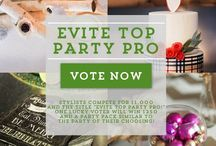 """Evite Top Party Pro / Stylists compete for the title of """"Evite Top Party Pro"""" as well as $1,000!  Plus, one lucky voter will win $250 and a party pack similar to the party of their choosing!"""