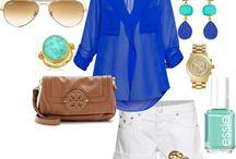 ropa informal verde agua  y azul, marrón