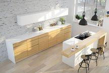 Kuchnia - wyspa / Wyspa - podoba mi się: * biała wyspa kuchenna  * drewniany blat tworzący bar * biały blat tworzący bar * drewniany bar * wyspa połączona ze stołem lub barem