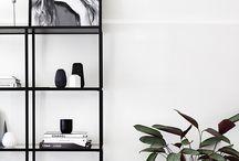 Coffee shop mood board / Concrete ideas- add plants, open kitchen shelves, black shelves, rug, pendant lights, new dining chairs