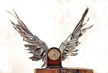 Time Flies: Clocks with Wings / Time Flies is a object that reminds you that time is short. It is displayed visually where it can be seen every day. The design is built for most peoples décor. The soft touches over the rough exterior remind you of a gentle life. These clocks are reinvented into a more personable item for your mantel.