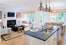 açık plan mutfak oturma odası