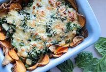 Zoete aardappel met spinazie