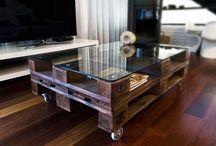 mesas con palets y cristal