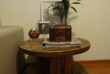 Mesas de carretel de madeira