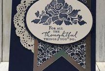 Floral dark blue birthday card