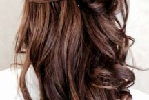 Golden highlights on dark hair
