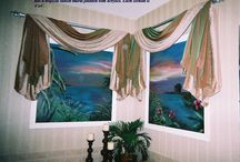 """Mural-window openings / Mural painting featuring """"window openings"""" to the glorious beauty of the outdoors"""