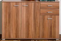 Large Walnut Sideboard Storage Unit Cabinet Wooden Book Shelf