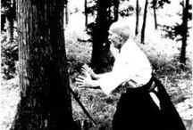 Ueshiba, in action / Morihei Ueshiba, O'sensei, in action on dojo