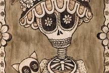 Calavera Catrina and skulls