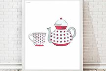 kitchen illustration / Printable or physical illustrations  Ilustraciones imprimibles o físicas