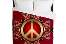 "Duvet Covers | Cafepress / Queen size Bed covers : Doona : Duvet : Quilts : Bedding decor by Webgrrl | Duvet Size: 88"" x 88"" * 100% woven polyester * Soft fleece top, breathable microfiber underneath * Snap closure * Prints on one side, reverse is white"