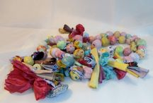My Necklaces. / Are made using small fabric pieces and ceramic beads.