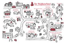The Neighbourhood / We live in a wonderful neighbourhood with family and friends.  There are roads and parks, a hospital and our school.  There's even a great shopping mall.  Take a walk around our neighbourhood!