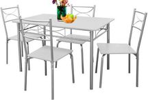 Dining Table Set Kitchen Chairs Bistro Furniture Room Patio Breakfast Food White