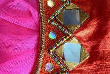mirror work neck blouse