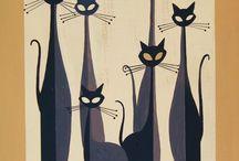 Gatos altos y negros