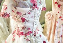Floral fantasies / Wedding dresses and bridal gowns with flower embellishment techniques, floral embroidery, flower applique, silk ribbon embroidery, silk flowers etc