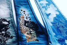 Multicolor  FLOCK print-jeans
