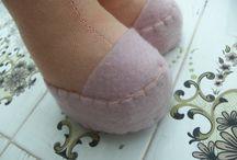 Felt doll shoes