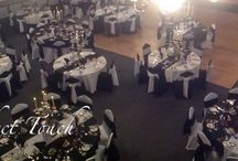 Our Venue Decor for LOR Annual Dinner and Dance 2015 / Our décor for the LOR corporate dinner and dance 2015 night 2 and 3. Black and white chair covers, table cloths and runners. Stunning silver decorated candelabra with a masquerade theme. Would be great for a Bond themed event