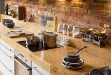 Exposed brick wall for kitchen