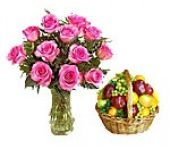 flowers and fruit basket